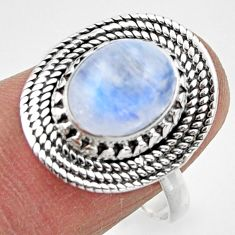 4.17cts solitaire natural rainbow moonstone 925 silver ring size 8.5 r49444