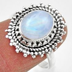 3.91cts solitaire natural rainbow moonstone 925 silver ring size 8.5 r49447