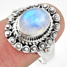 4.37cts solitaire natural rainbow moonstone 925 silver ring size 8.5 r49448