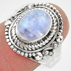 4.20cts solitaire natural rainbow moonstone 925 silver ring size 8.5 r49450