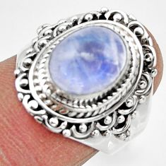 4.32cts solitaire natural rainbow moonstone 925 silver ring size 6.5 r49452