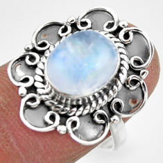 4.05cts solitaire natural rainbow moonstone 925 silver ring size 7.5 r49455