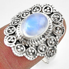 4.13cts solitaire natural rainbow moonstone 925 silver ring size 8.5 r49456