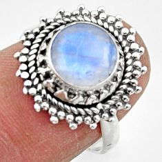 3.29cts solitaire natural rainbow moonstone 925 silver ring size 6.5 r49458