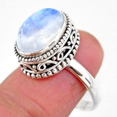 5.01cts solitaire natural rainbow moonstone 925 silver ring size 7.5 r51383