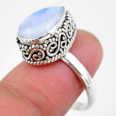5.31cts solitaire natural rainbow moonstone 925 silver ring size 7.5 r51388