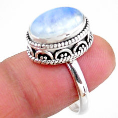 5.75cts solitaire natural rainbow moonstone 925 silver ring size 7.5 r51400