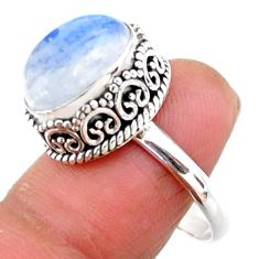 5.12cts solitaire natural rainbow moonstone 925 silver ring size 8.5 r51411