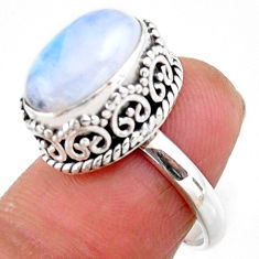 5.06cts solitaire natural rainbow moonstone 925 silver ring size 6.5 r51435