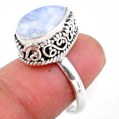 5.28cts solitaire natural rainbow moonstone 925 silver ring size 6.5 r51438
