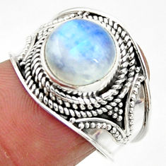 4.53cts solitaire natural rainbow moonstone 925 silver ring size 7.5 r51924