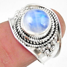 4.93cts solitaire natural rainbow moonstone 925 silver ring size 7.5 r51926