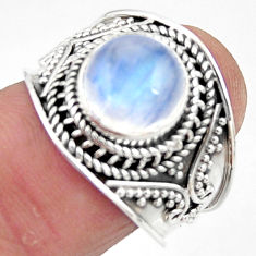 4.73cts solitaire natural rainbow moonstone 925 silver ring size 7.5 r51930