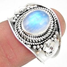 4.21cts solitaire natural rainbow moonstone 925 silver ring size 9.5 r51932