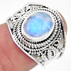 4.38cts solitaire natural rainbow moonstone 925 silver ring size 7.5 r51938