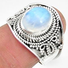 4.38cts solitaire natural rainbow moonstone 925 silver ring size 7.5 r51942