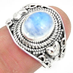 4.38cts solitaire natural rainbow moonstone 925 silver ring size 7.5 r51946