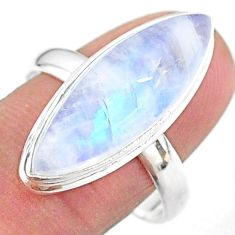13.77cts solitaire natural rainbow moonstone 925 silver ring size 10 t18103