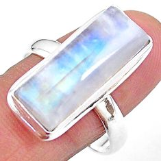 12.65cts solitaire natural rainbow moonstone 925 silver ring size 10 t18115