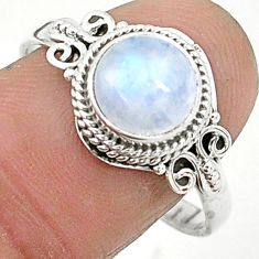 2.43cts solitaire natural rainbow moonstone 925 silver ring size 10 t6598