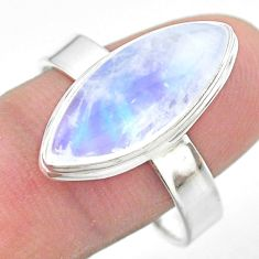 12.03cts solitaire natural rainbow moonstone 925 silver ring size 11 t29228
