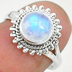 2.42cts solitaire natural rainbow moonstone 925 silver ring size 5 t6561