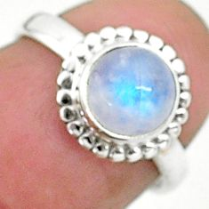2.49cts solitaire natural rainbow moonstone 925 silver ring size 5 t6572