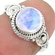 2.59cts solitaire natural rainbow moonstone 925 silver ring size 5 t6585