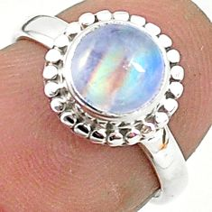 2.37cts solitaire natural rainbow moonstone 925 silver ring size 5 t6594