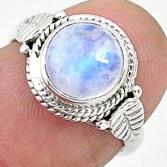 2.58cts solitaire natural rainbow moonstone 925 silver ring size 5 t6609