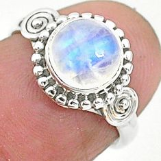 2.75cts solitaire natural rainbow moonstone 925 silver ring size 5 t6631