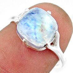 4.50cts solitaire natural rainbow moonstone 925 silver ring size 6 r41938