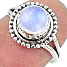 2.42cts solitaire natural rainbow moonstone 925 silver ring size 6 t15651