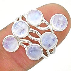 5.22cts solitaire natural rainbow moonstone 925 silver ring size 6 t19200