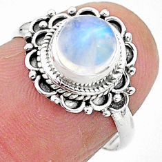 2.29cts solitaire natural rainbow moonstone 925 silver ring size 6 t3547