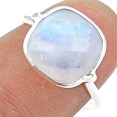 4.47cts solitaire natural rainbow moonstone 925 silver ring size 6 t50716