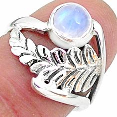 1.30cts solitaire natural rainbow moonstone 925 silver ring size 6 t6377