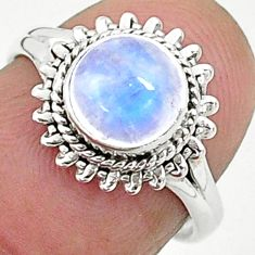 2.45cts solitaire natural rainbow moonstone 925 silver ring size 6 t6567