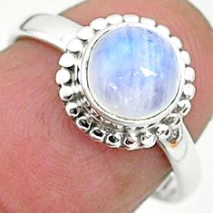 2.57cts solitaire natural rainbow moonstone 925 silver ring size 6 t6570