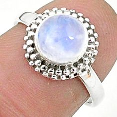 2.40cts solitaire natural rainbow moonstone 925 silver ring size 6 t6583