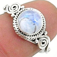 2.58cts solitaire natural rainbow moonstone 925 silver ring size 6 t6591