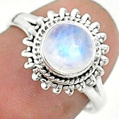 2.38cts solitaire natural rainbow moonstone 925 silver ring size 6 t6592