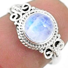 2.42cts solitaire natural rainbow moonstone 925 silver ring size 6 t6595