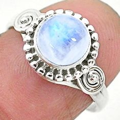 2.42cts solitaire natural rainbow moonstone 925 silver ring size 6 t6601