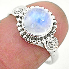 2.40cts solitaire natural rainbow moonstone 925 silver ring size 6 t6614