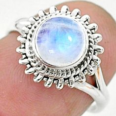 2.56cts solitaire natural rainbow moonstone 925 silver ring size 6 t6618