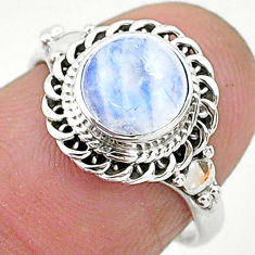 2.40cts solitaire natural rainbow moonstone 925 silver ring size 6 t6620