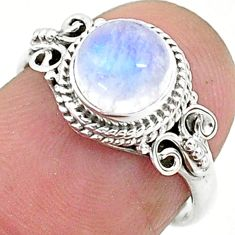 2.42cts solitaire natural rainbow moonstone 925 silver ring size 6 t6628