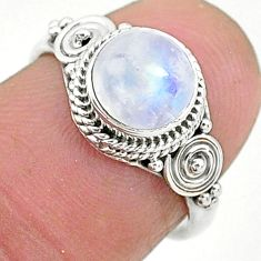 2.59cts solitaire natural rainbow moonstone 925 silver ring size 6 t6632