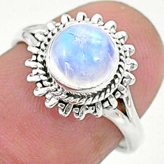 2.42cts solitaire natural rainbow moonstone 925 silver ring size 6 t6633